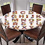 """Elastic Edged Polyester Fitted Table Cover,Colorful Vibrant Alphabet with Flowers Gardening Plants Blooming Dahlia Cornflower Decorative,Fits up 40""""-44"""" Diameter Tables,The Ultimate Protection for You"""
