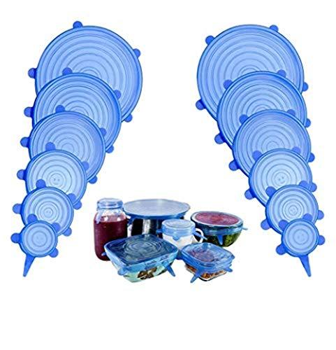 Coque en silicone stretch Couvercle Silicone Alimentaire, Kit de Couvercle Extensible Film Frais Hermétiques en Silicone, 12 Pcs, Flexible, Réutilisable (Bleu)
