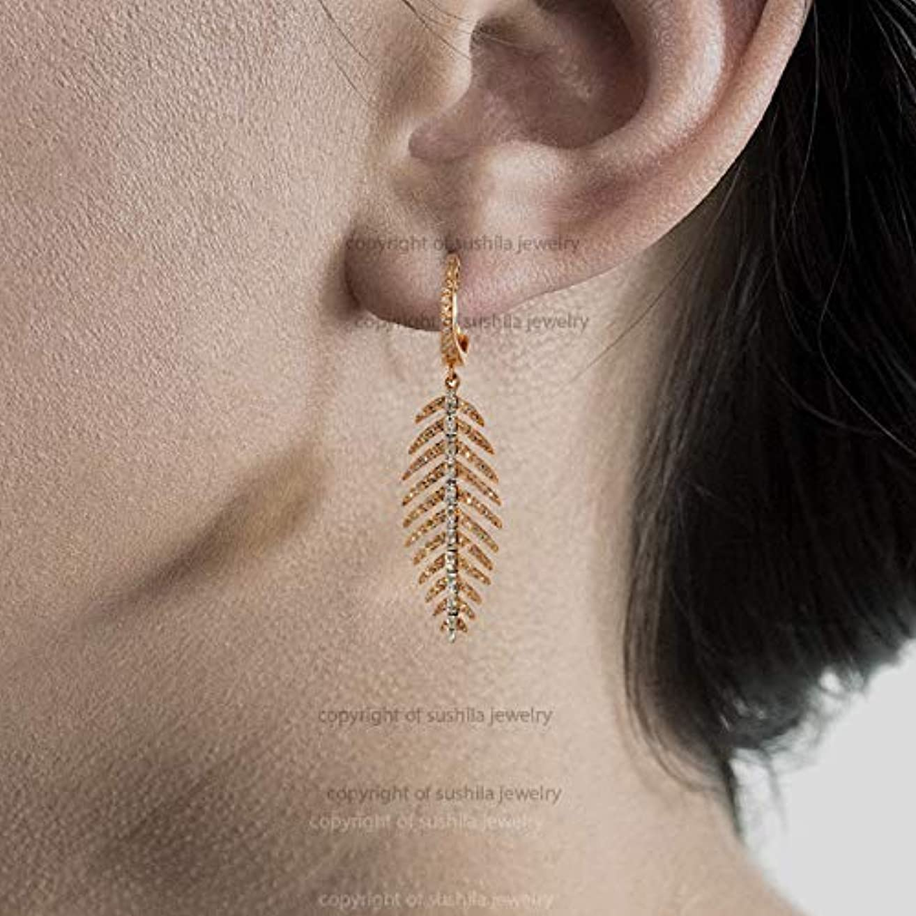 Genuine SI Clarity G-H color Diamond Dangle Huggie Hoops Feather Leaf in 14K Solid Rose Gold Handmade wedding Anniversary Jewelry