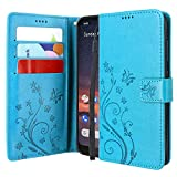 CMID Motorola Moto G8 Plus Hülle, Ständer PU Leder Brieftasche Handytasche Flip Bookcase Schutzhülle Cover mit Handschlaufe für Moto G8 Plus (Blau)