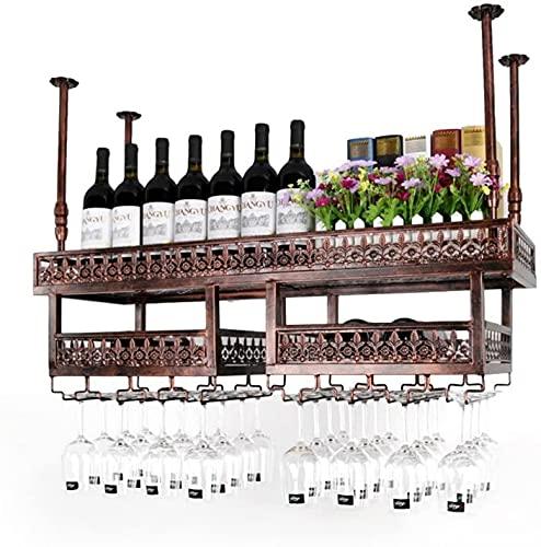 CGF- Bar Estante para Copas de Vino Colgante Retro Soporte para Copas Estante para Vino al revés Bar nórdico montado en la Pared Restaurante Estante de Almacenamiento para Tazas Colgantes DEC