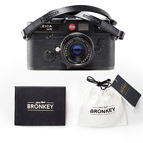 Bronkey Tokyo 104 (120 cm) - Correa para Cámara compacta - Cuello Hombro Vintage Retro cámara Piel Cuero Original Enganche Universal para Sony, Fuji, Leica, Pentax, Etc.