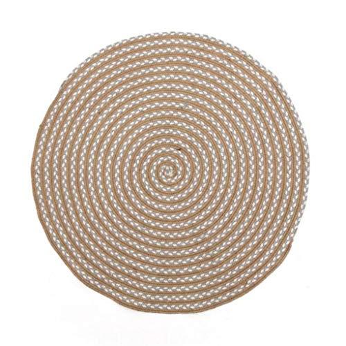 Wyjw tapijt, linnen, handgemaakt, voor woonkamer, slaapkamer, salontafel, kinderen, tapijt, rond, diameter 150 cm, comfortabel (kleur: nr. 1, maat: diameter 120 cm)