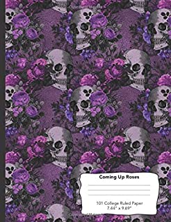 Coming Up Roses: Purple Pink & Black Flowers 101 Page College Ruled Notebook 7.44