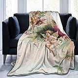 JOOCAR Mantas y mantas de franela manta para/sofá/cama manta de felpa vintage Cupido San Valentín Felpa mullida manta regalo para bebé niña niño papá mamá