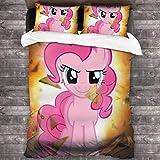 Knncch Funda nórdica Ropa de Cama 3 Piece Set My Little Rainbow Pony Ropa de Cama Juegos de Funda nórdica para niños Mujeres Hombres
