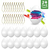 O-Kinee Huevos de Pascua, 24 Piezas Huevos Blancos Plásticos, Decoración de Pascua, Huevos de Pascua Juguetes Favores de Partido, Ideales para Huevos de Pascua Manualidades (Blancos)