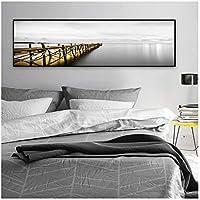 海の黄色いボートブリッジタワーのポスターとプリントホームキャンバス絵画の風景写真リビングルームの装飾のための壁の芸術