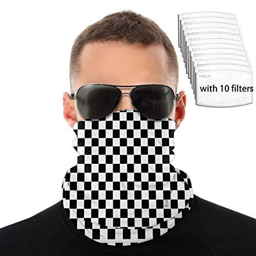 Mamihong Cuadrados en Blanco y Negro Ajedrez Protección UV Mascarilla Cuello con 10 filtros, Bufanda a Prueba de Viento Diadema Protector Solar Bandana Transpirable