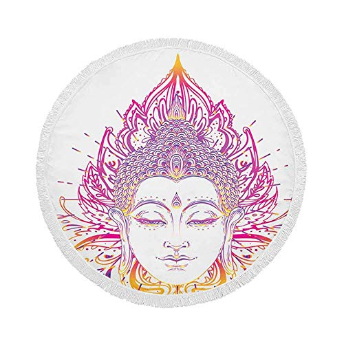 Manta de Toalla de Playa Redonda, Estampado Redondo de Mandala Adornado, Esterilla de Yoga Circular Grande de Gran tamaño de 59 Inch con borlas de Flecos