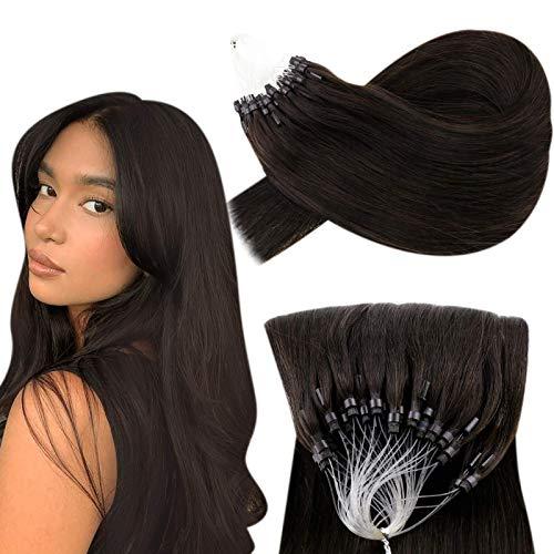 Hetto Ring Extension a Anneaux Cheveux Lisse Brun Le Plus Foncé Vrai Cheveux Humain Easy Loop Extension Pré-Collée Cheveux Lisse Remy Cheveux Pour Femme 18 Pouces 50g par Paquet