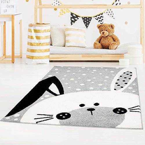 carpet city Kinderteppich Bubble Kids Flachflor Schlappohr-Hase, weiß gepunktet in Grau für Kinderzimmer; Größe: 140x200 cm