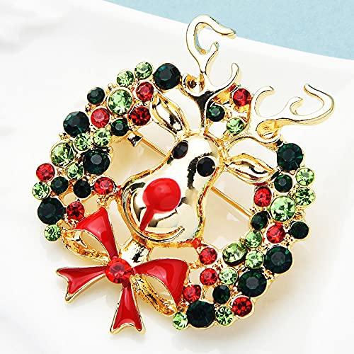 RWJFH Broche Broche de Corona de Diamantes de imitación Pines Mujeres Hombres Flor esmaltada Navidad año Nuevo broches Regalos