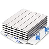 MIKEDE Neodymium Bar Magnets 25 Pack, Strong Permanent Rare Earth Magnets with Double-Sided Adhesive, Powerful Metal Neodymium Magnet for Craft, Fridge, Kitchen, Office - 60x10x3mm