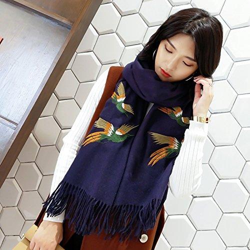 BAGEHUAN Schals weiblichen Winter Dicke warme Schal Dual-Use solide Quaste Langen Abschnitt aus Gewirken Student Kragen, Blau