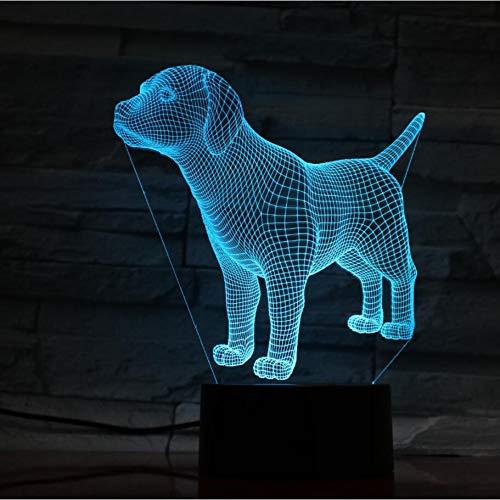 LPHMMD Nacht Licht Leuke Mooie 3D Hond Nachtlamp LED Verlichting met Multi-Kleuren Bureau Lamp als Kinderen Geschenken Party Home Decor Slaap Licht
