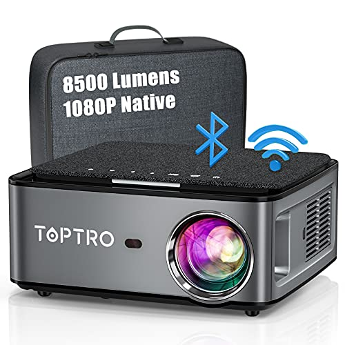 TOPTRO WiFi Bluetooth Projector with Carrying Case, 8500L Full HD Wireless Portable Projector Native 1920x1080P , Support 4D Keystone/Zoom/4K, Home Theater Projector Compatible with Phone PC PS4 PPT
