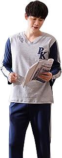 メンズコットン長袖パジャマスポーツカジュアル秋と冬のメンズファッション暖かいホームカジュアルウェア パジャマ (Size : 165cm/m)