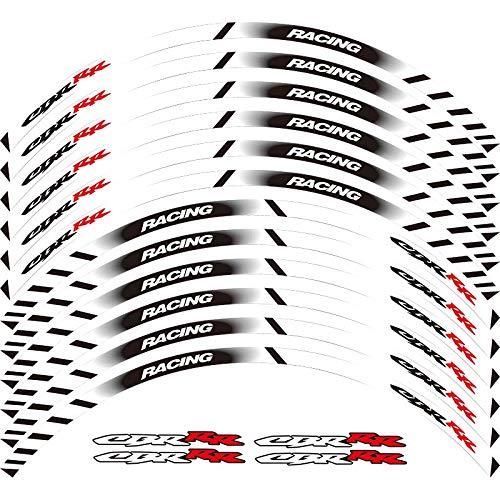 Motorcycle Wheel Sticker 17' Reflective Decals Rim Tape Bike Car Styling For HONDA CBR HRC REPSOL (WHITE)