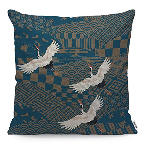 Wozukia Three Cranes Throw Pillow Cover Multiple Patterned Japanese Traditional Design Gingko Leaf Decor Square Pillow Case Cushion Cover for Home Car Decorative Cotton Linen Pillowcases 18x18 Inch
