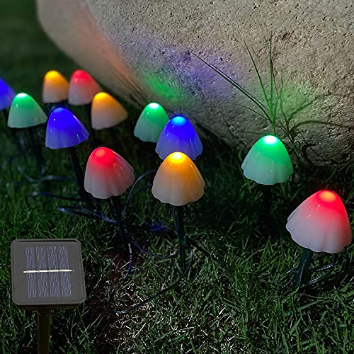 BABYCOW Luces solares para jardín de 20 pies, 30 LED, Luces de Cadena de Hadas con Forma de Hongo, IP65, Impermeable, para Camino, estaca Solar, lámpara de Seta, 8 Modos, luz de decoración para Jard