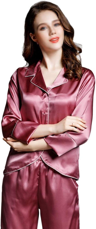 CEFULTY Pajamas Women's Long Sleeve Sleepwear Soft Silk Pj Set LXXL