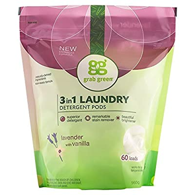 Grab Green Natural 3 in 1 Laundry Detergent Pods, Lavender + Vanilla-With Essential Oils, 60 Loads, Organic Enzyme-Powered, Plant & Mineral-Based, 34 Ounce