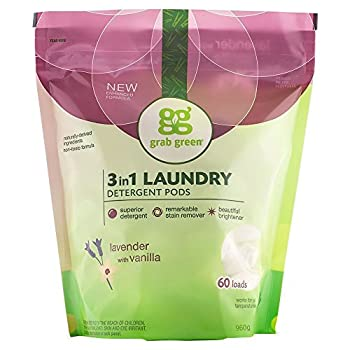 Grab Green Natural 3 in 1 Laundry Detergent Pods Lavender + Vanilla-with Essential Oils 60 Loads Organic Enzyme-Powered Plant & Mineral-Based 34 Ounce