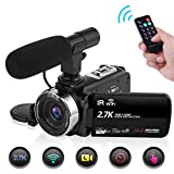 Camcorder Video Camera, WiFi 2.7K Night Vision Vlogging Camera with Microphone 24MP 16X