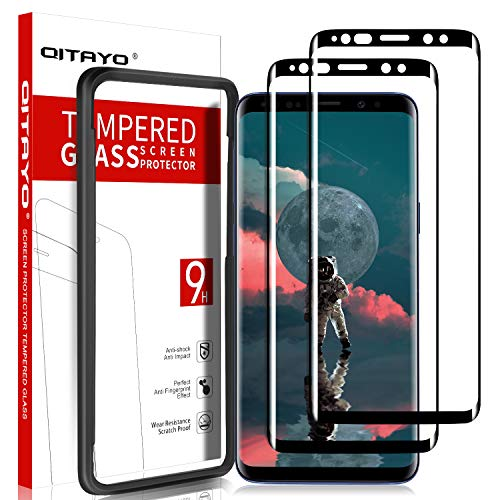 QITAYO Screen Protector for Samsung Galaxy S9, HD Clear Tempered Glass Screen Protector Compatible with Samsung Galaxy S9, 2 Pack