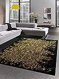 CARPETIA Alfombra Sala de Estar Alfombra de diseño Oro Negro Größe 80x150 cm