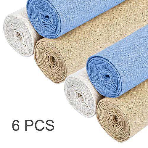 Aida - Tela de punto de cruz para bordar, 4 piezas, color blanco natural, 50 cm, tela de lino para hacer bordados, prendas de vestir, manualidades, bordados, decoración y mantel 6 A.