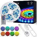 Striscia Led Rgb 5 Metri 20 Colori e 6 Modalità Regolabile Diy con 44 Tasti Telecomando I...