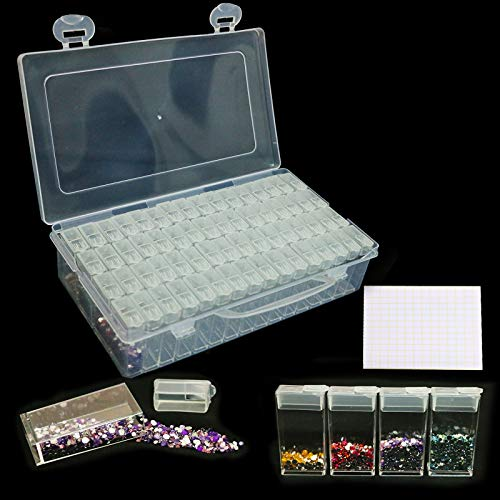 Diamond Painting Containers 64 Girds Bead Storage Containers with Lids Diamond Embroidery Organizer Box for Beads, Jewelry Diamond Painting, DIY Art Craft, Nails and More