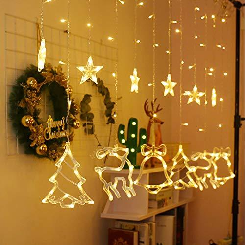 duquanxinquan LED Lichterkette Lichtervorhang Weihnachten Fensterbeleuchtung Partylichterkette Sterne Vorhang Lichter Warmweiß