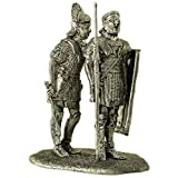 Rome. Centurion gives the command to legionary, metal sculpture. Collection 54mm miniature figurine. Tin toy soldiers