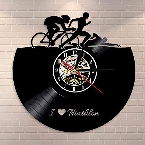 BFMBCHDJ Deportes Natación Correr Ciclismo Vinilo Reloj de Registro Hecho a Mano Amantes de los Deportes Regalos Vintage Atleta Decoración para el hogar Triatlón Reloj de Pared