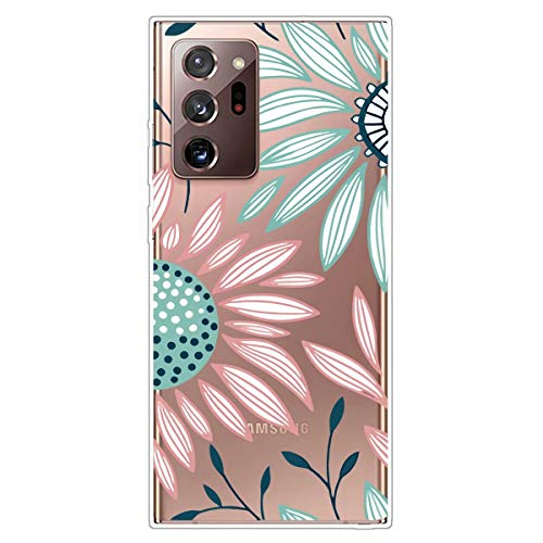 Miagon Transparent Case for Samsung Galaxy Note 20 Ultra,Pink Green Flower Pattern Creaive Funny Clear Soft Ultra-Thin Flexible Silicone Drop-Protection Fully Protective Cover Case