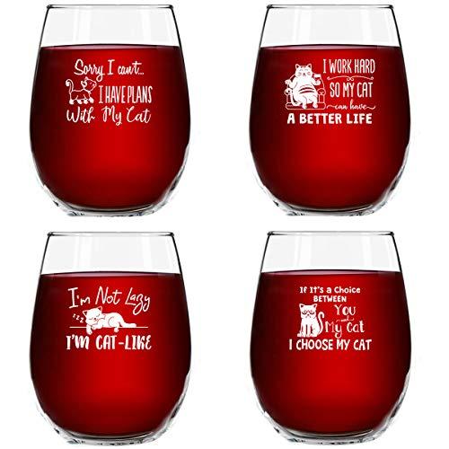Cat-Themed Wine Glasses