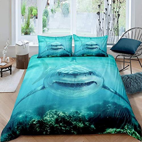 3D Shark Duvet Cover for Kids Boys Girls Teens Marine Life Ocean Shark Comforter Cover Sea Underwater Bedding Set Aquatic Animal Quilt Cover,Room Decor 3 Pcs Bedding SizeSingle