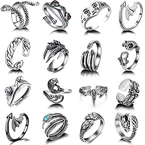 Kagodri Juego de 16 anillos estilo punk vintage con diseño de animales abiertos góticos, anillos apilables, diseño de apertura ajustable, joyería de regalo para mujeres, hombres y niñas