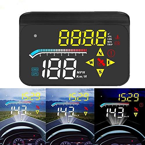 Auto-Head-Up-Display, FSVEYL-verbessertes Dual-Mode-HUD-OBD II/GPS mit Geschwindigkeit,Überdrehzahlwarnung,Kilometerstandsmessung, Wassertemperatur und Gilt für Fahrzeuge nach 2008 (M17)