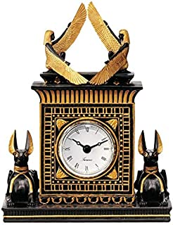 Design Toscano Temple of Anubis Egyptian Revival Desk Mantel Clock Statue, 8 Inch, Black and Gold