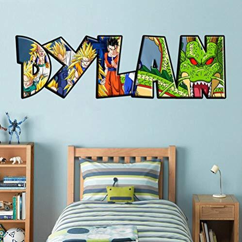 Stickers muraux Dragon Ball Z nom personnalisé autocollant mural autocollant mural graphique Wukong Décorations murales