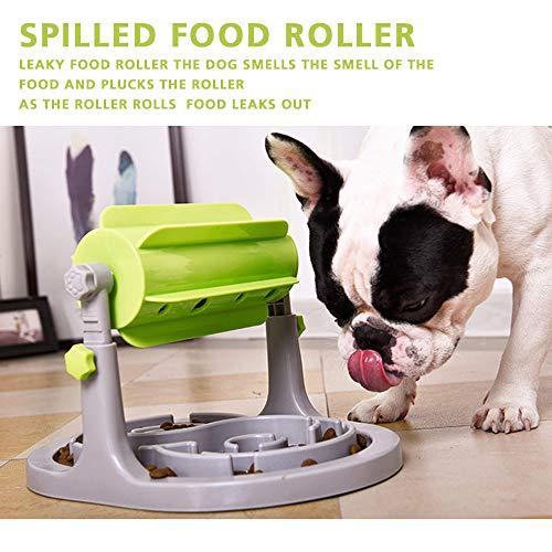 Interactive Dog & Cat Food Puzzle Juguete de dispensación lenta Alimentador IQ Entrenamiento en alimentación inteligente y altura ajustable para perros pequeños/medianos