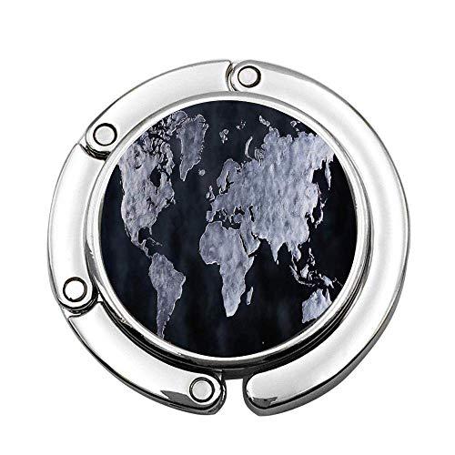 Black White World of Map Foldable Lady Handbag Table Desk Hanger Hook Purse Table Hanger Holder