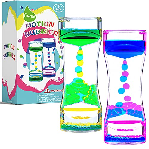 Cucue Liquid Motion Bubbler Timer, Colorful Liquid Hourglass Sensory Toys with Floating Droplets for Calming, Relaxing and Fun2 Pack Fidget Toys for Kids and Adults