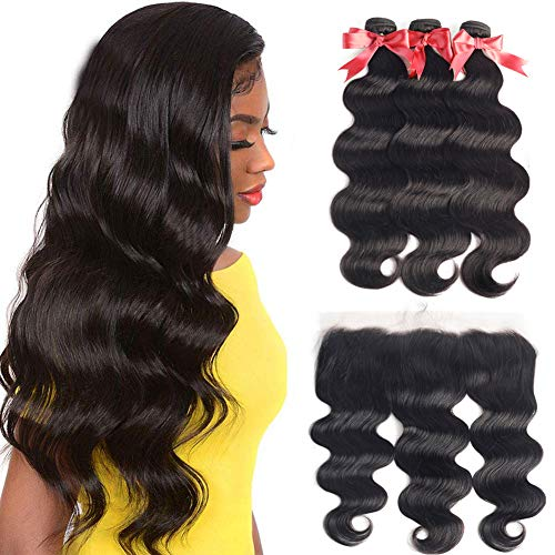Brazilian Virgin Body Wave 3 Bundles with Frontal Closure100% Virgin Body Wave Human Hair Weave Weft Extensions with 13 x 4 Lace Frontal Natural Color(22 24 26+20Frontal)
