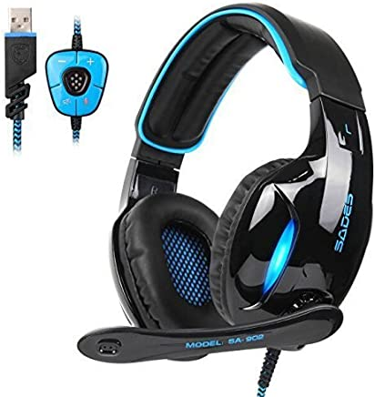 $22 » SADES Newest SA902 7.1 Channel Virtual Surround Sound USB Gaming Headset Over-ear Headphones with Noise Isolating Mic LED Light for PC Mac Computer Gamers(Black Blue)