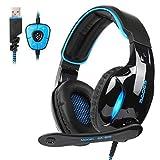 Sades SA902 USB Auriculares Cascos Gaming Sonido Envolvente Virtual de 7.1 de Diadema Cerrados con MICR¨®Fono LED para PC Laptop Computadoras (Negro/Azul)